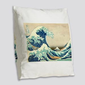 Hokusai Great Wave off Kanagawa Burlap Throw Pillo
