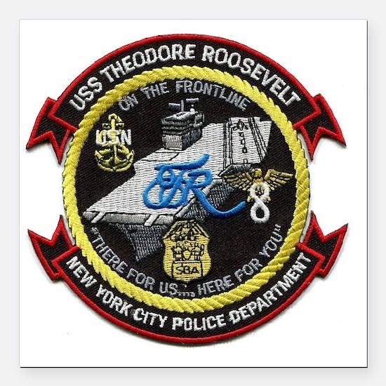 "USS THEODORE ROOSEVELT Square Car Magnet 3"" x 3"""