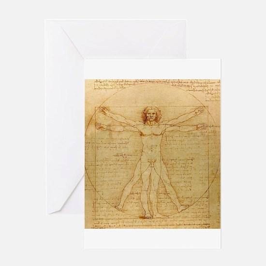 Vitruvian man by Leonardo da Vinci Greeting Cards