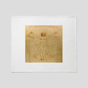 Vitruvian man by Leonardo da Vinci Throw Blanket