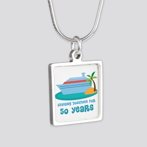 50th Anniversary Cruise Silver Square Necklace