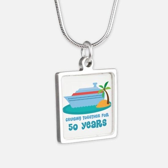 50th Anniversary Cruise Silver Square Necklace