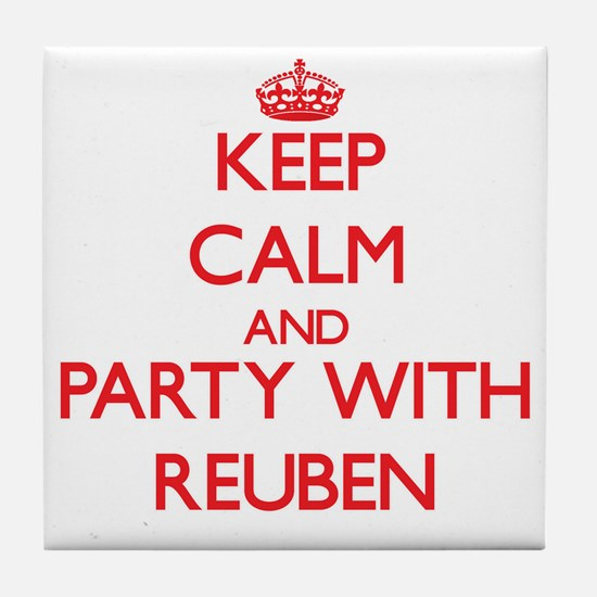 Keep Calm and Party with Reuben Tile Coaster