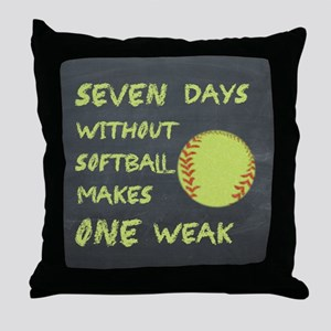Chalkboard Seven Days Without Softball Throw Pillo