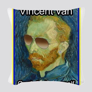 Vincent van Gogh fuck yourself Woven Throw Pillow