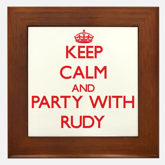 Keep Calm and Party with Rudy Framed Tile