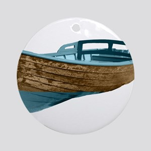 Wooden Boat Ornament (Round)
