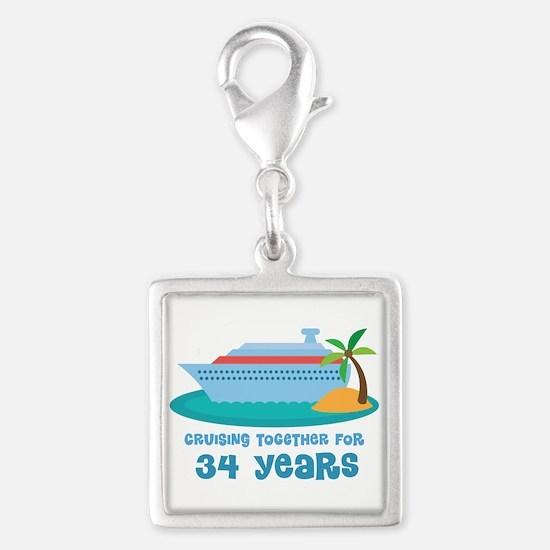 34th Anniversary Cruise Silver Square Charm