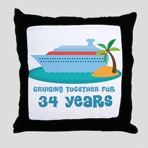34th Anniversary Cruise Throw Pillow
