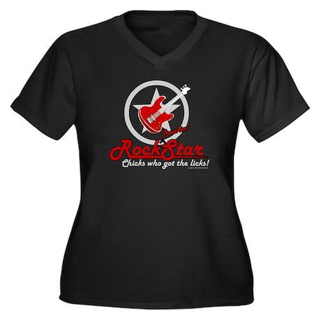 Rockstar! Women's Plus Size V-Neck Dark T-Shirt