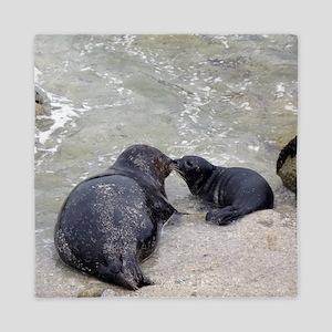 Harbor Seal Mom Kisses Pup Queen Duvet