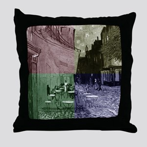 Cafe Terrace at Night by Van Gogh (4C Throw Pillow