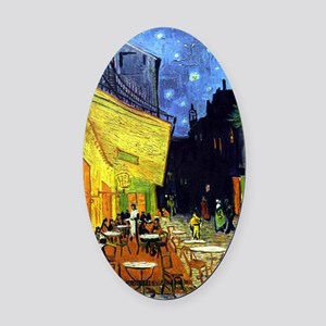 Cafe Terrace at Night by Van Gogh Oval Car Magnet