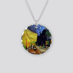 Cafe Terrace at Night by Van Necklace Circle Charm