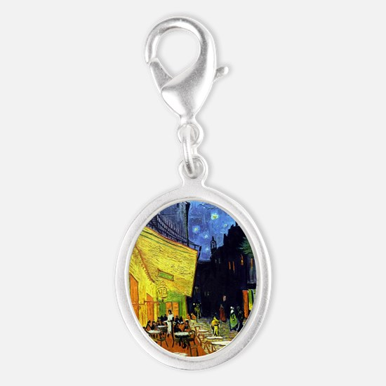 Cafe Terrace at Night by Van Go Silver Oval Charm