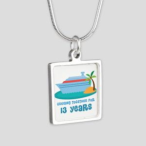 13th Anniversary Cruise Silver Square Necklace