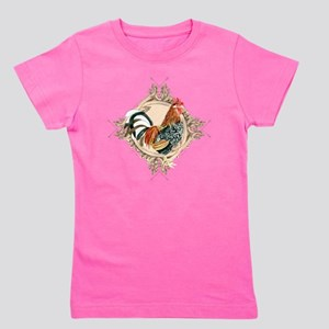 Vintage Rooster Etched Design Watercolo Girl's Tee