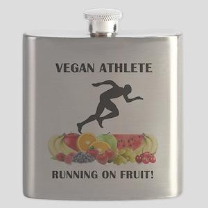 Vegan Athlete Man Running on Fruit Flask