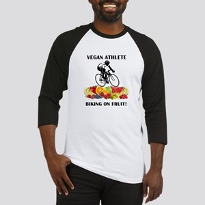 Vegan Athlete Biking on Fruit Baseball Jersey