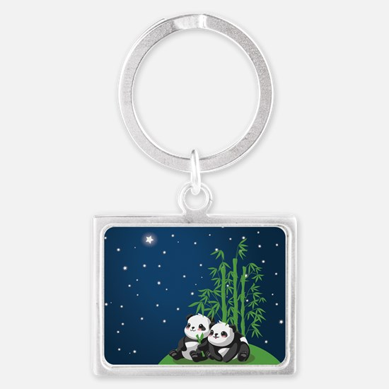 Star Night Panda Landscape Keychain