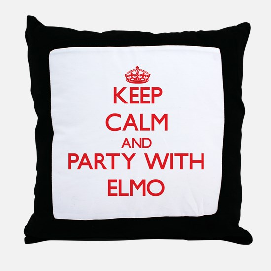 Keep Calm and Party with Elmo Throw Pillow