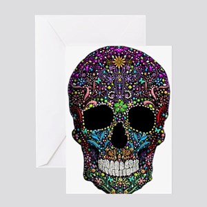 Colorskull on Black Greeting Cards