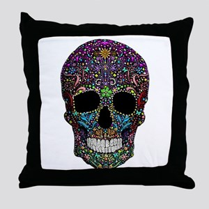 Colorskull on Black Throw Pillow