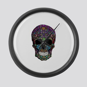 Colorskull on Black Large Wall Clock