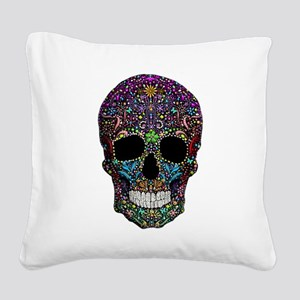 Colorskull on Black Square Canvas Pillow