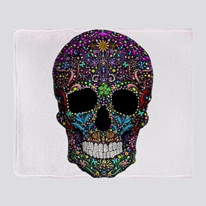 Colorskull on Black Throw Blanket