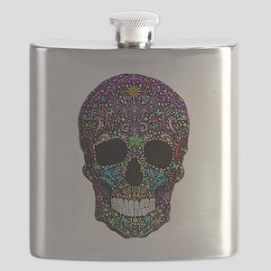 Colorskull on Black Flask