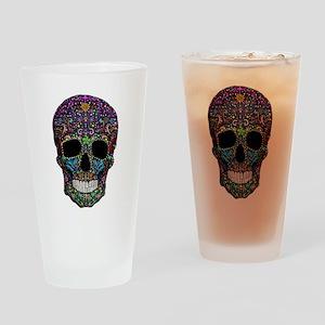 Colorskull on Black Drinking Glass