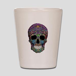 Colorskull on Black Shot Glass