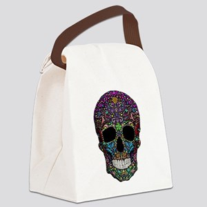 Colorskull on Black Canvas Lunch Bag