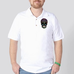 Colorskull on Black Golf Shirt