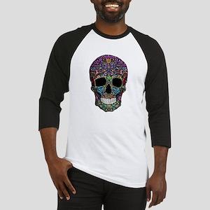 Colorskull on Black Baseball Jersey