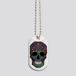 Colorskull on Black Dog Tags