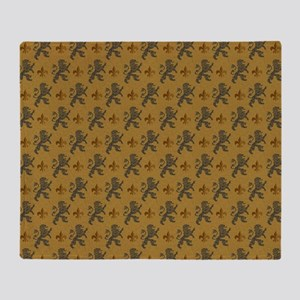 Rampant Lions And Fleurs Throw Blanket