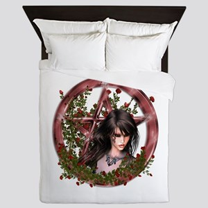 Wiccan Pentacle Gothic Gilr Flowers Queen Duvet