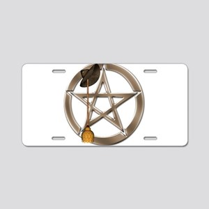 Silver Wiccan Pentacle and Broom Aluminum License