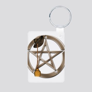 Silver Wiccan Pentacle and Broom Keychains