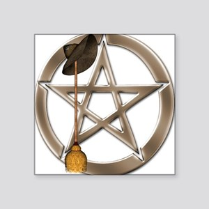 Silver Wiccan Pentacle and Broom Sticker