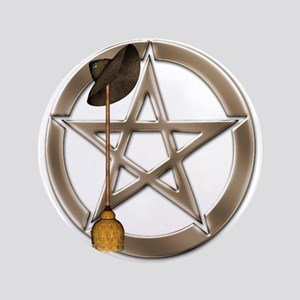 """Silver Wiccan Pentacle And Broom 3.5"""" Button"""