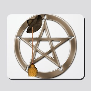 Silver Wiccan Pentacle and Broom Mousepad