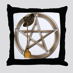 Silver Wiccan Pentacle and Broom Throw Pillow