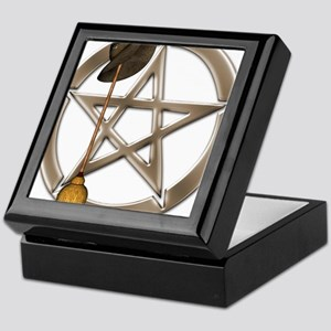 Silver Wiccan Pentacle and Broom Keepsake Box