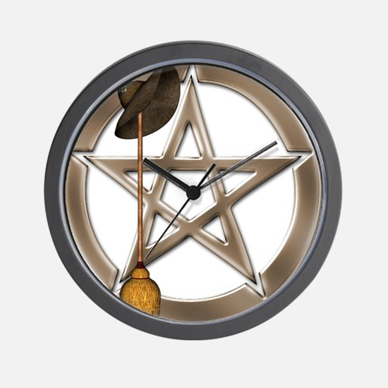 Silver Wiccan Pentacle and Broom Wall Clock