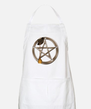 Silver Wiccan Pentacle and Broom Apron