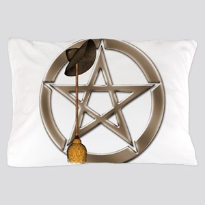 Silver Wiccan Pentacle and Broom Pillow Case