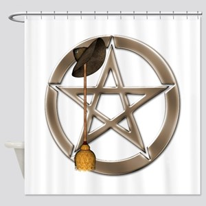 Silver Wiccan Pentacle and Broom Shower Curtain